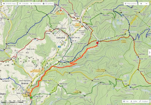 Tak tohle byla moje trasa pro první den - cca 7,5 km a převýšení asi 500 metrů (start v 574 m n.m. a konec na 1102 m n.m.)